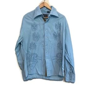 English Laundry Blue Embroidered Button Down Shirt